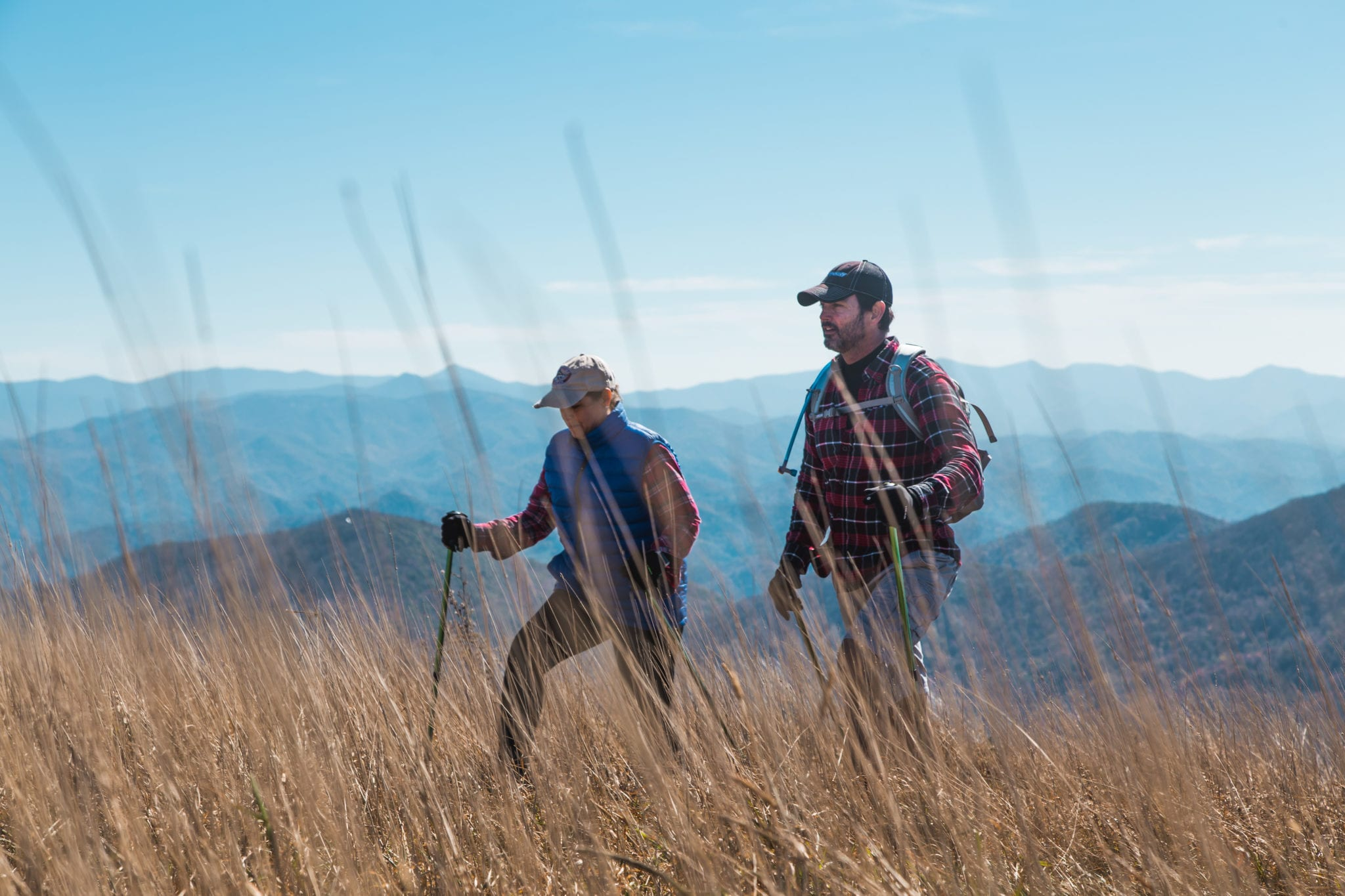 Hikers on Bald Mountain with sticks